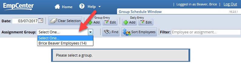 select an assignment group from the drop down list