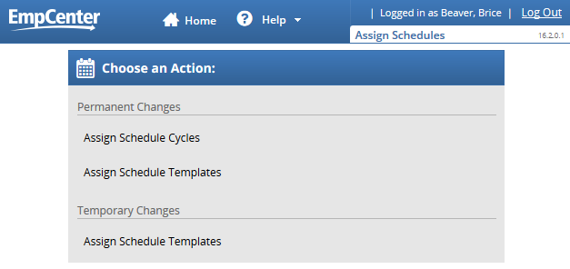assign schedule template link on the assign schedules page