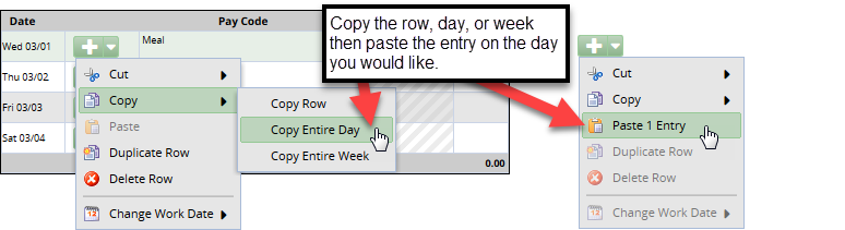 use copy and paste option for days with same pay code