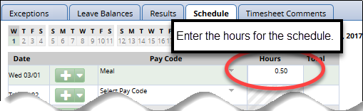 enter hours in the hours column