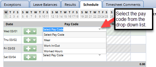pay code drop down list in schedule tab