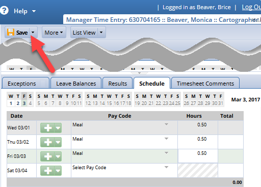 save button at the top of timesheet to save changes