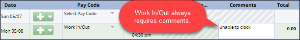 work in out pay code with hours and comments