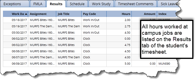 results tab student timesheet showing all hours worked on all positions at the university