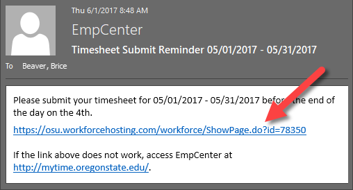 link in email to access timesheet in empcenter