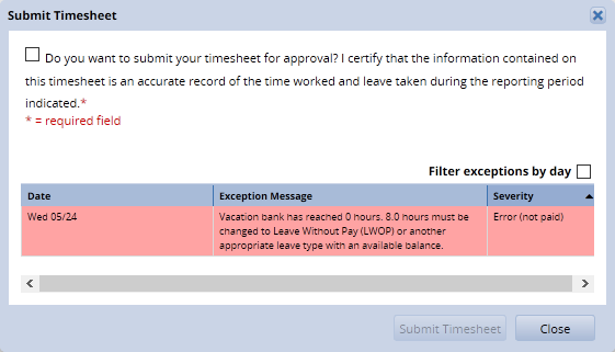 submit timesheet dialogue box showing a red level error that must be cleared before submitting