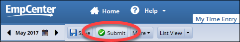 submit button at the top of the timesheet