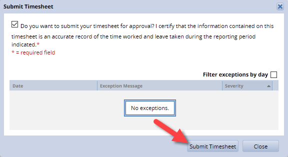 click submit timesheet button at the bottom of the dialouge box