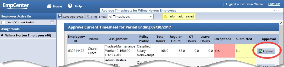 timesheet with essential time approved indicating hours entered are correct