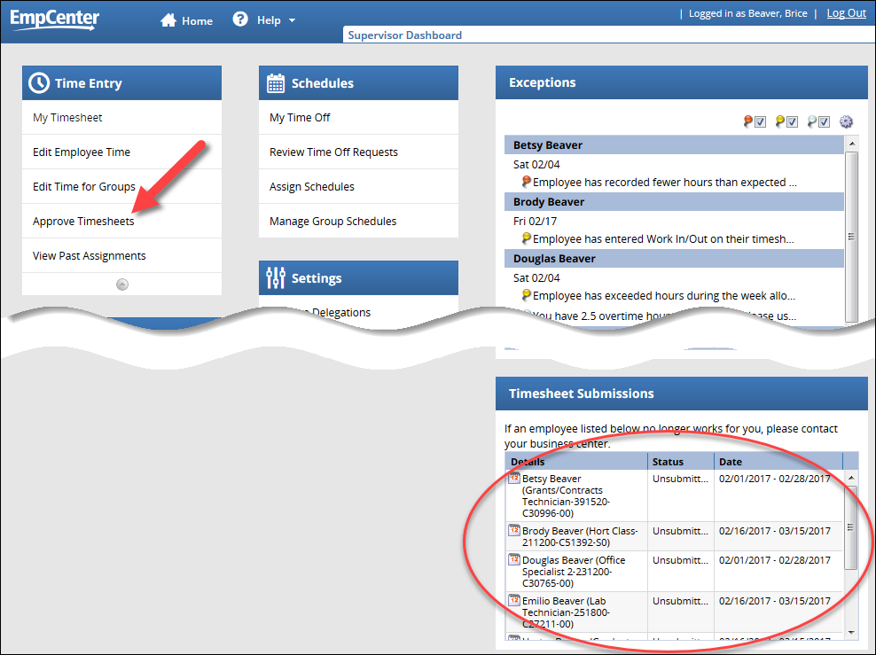 supervisor dashboard showing approve timesheets link and timesheet submissions box