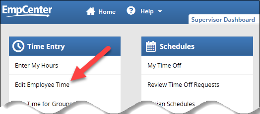 edit employee time link on supervisor dashboard