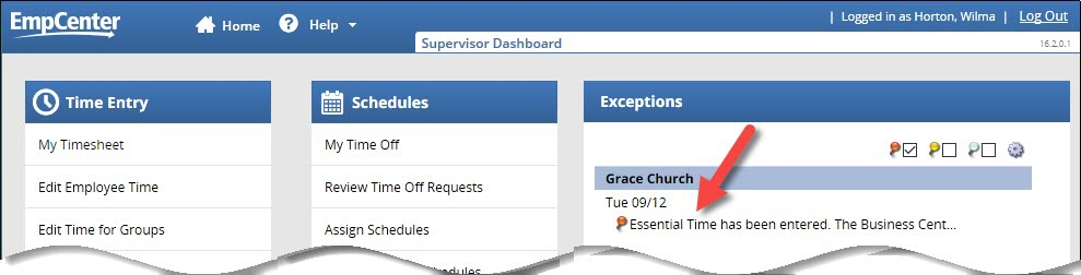 supervisor dashboard showing essential time exception in exceptions box