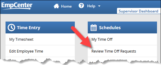 supervisor dashboard with the review time off request link highlighted