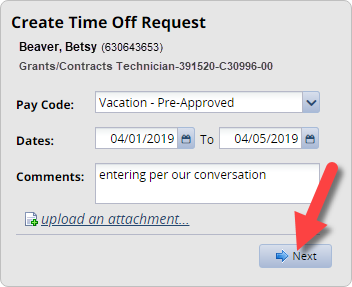 create request details filled out with next button highlighted