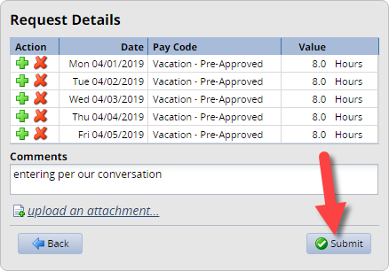 time off request details with submit button highlighted