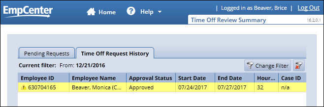 Supervisor Time Off Request History tab showing warning on invalid time off request
