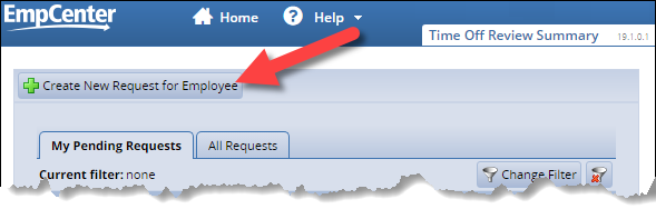 time off request summary page with create new request for employee link highlighted