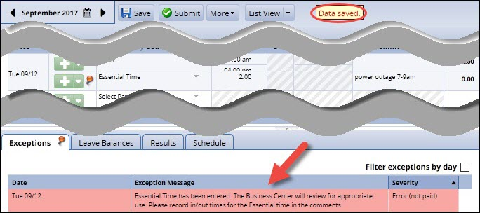 timesheet saved showing hours and comments and red level exception for essential time