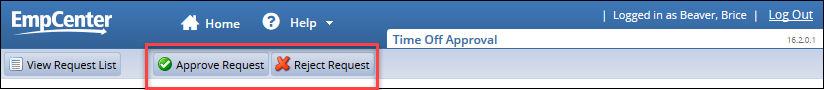 approve and reject buttons at the top of the time off review page