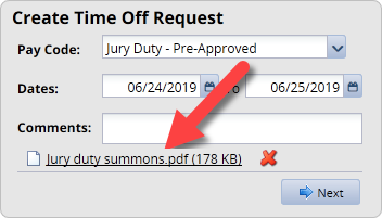 create time off request window with document attachment