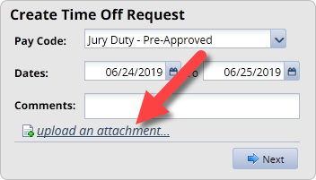 create time off request window with upload an attachment link highlighted