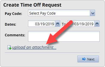 time off request screen with attachment link highlighted