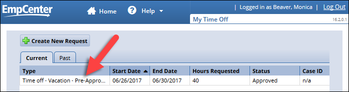 select time off request from my time off page request list