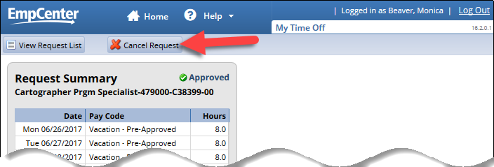 cancel request button on request summary page