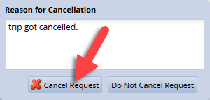 enter comments then click on cancel request button