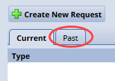 past tab on the my time off page request list options