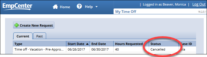 my time off page request list showing time off request status is cancelled