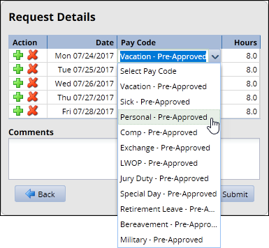 drop down menu with leave types in the pay code field of the request details page of the time off request