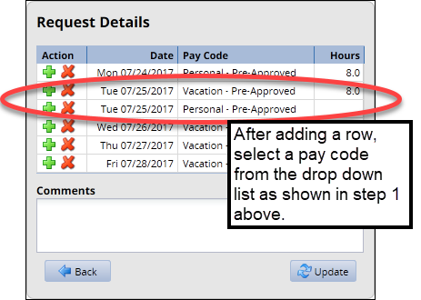 row added to day and new pay code selected