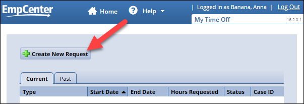 create new request button on my time off request page
