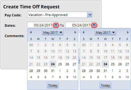 select the dates for the leave by typing them in or using the calendar icon