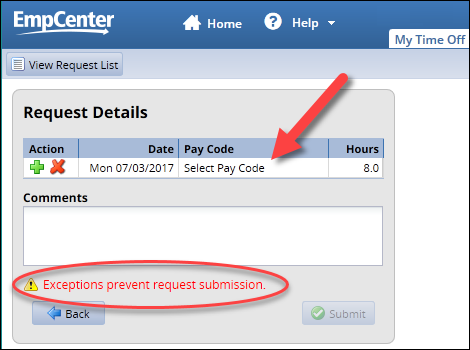 exceptions prevent request submission notice on time off request