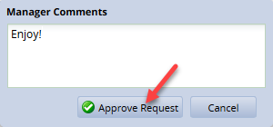 approve requests comment box with comments and approve request button