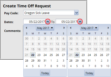 create time off select dates calendars