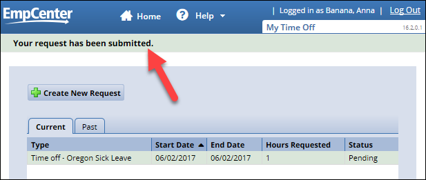 my time off page with submitted request listed