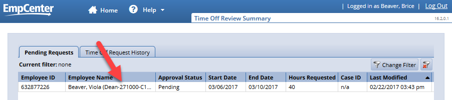 time off review summary page link to employee time off request