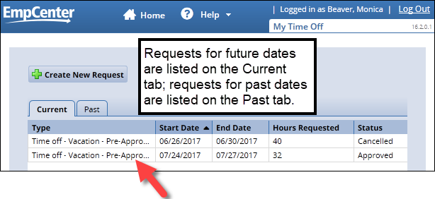 click the time off request you want to view