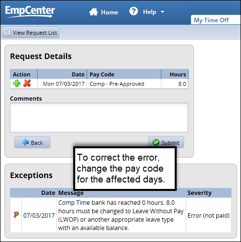 leave bank is zero error on time off request