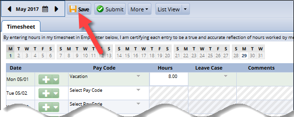 save button at top of timesheet to save changes