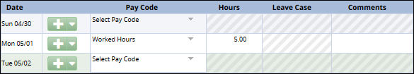 select day on the timesheet to enter hours