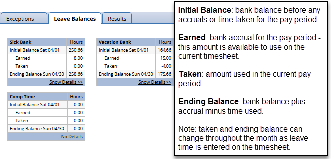 leave balances tab on timesheet for unclassified employees
