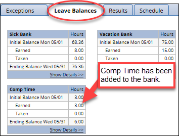 comp time on the leave balances tab
