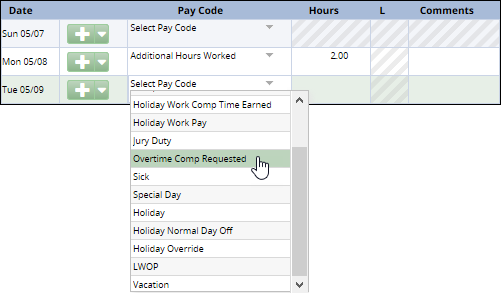 pay code drop down list showing overtime comp requested pay code