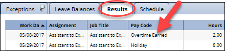 results tab showing overtime earned in the pay period