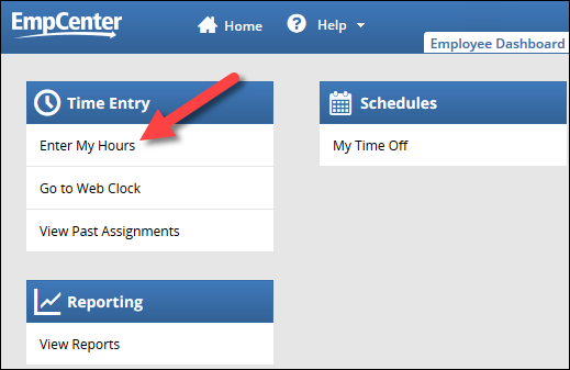enter my hours link on the employee dashboard