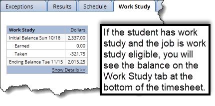 work study tab